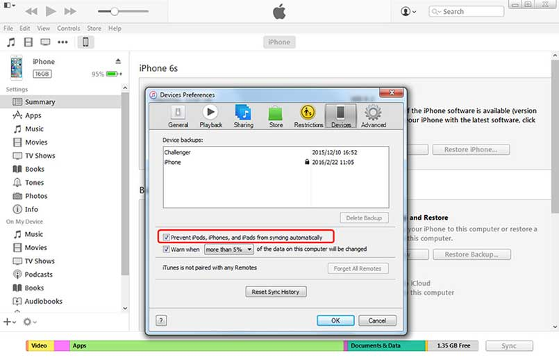 prevent ipods iphones and ipads from syncing automatically
