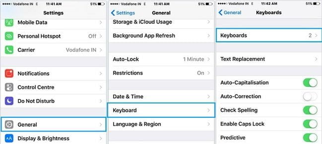 adjust keyboard settings on iphone